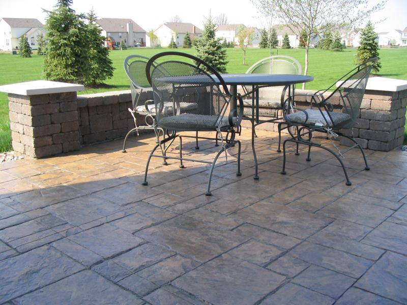 Superb Grand Ashler Slate Stamped Concrete With Brussels Dimensional Stone Walls